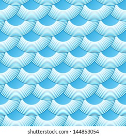 Blue retro fish scales vector seamless pattern