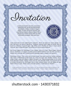 Blue Retro invitation. With guilloche pattern and background. Beauty design. Detailed.