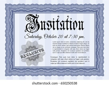 Blue Retro invitation template. Money Pattern design. Complex background. Customizable, Easy to edit and change colors.