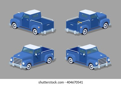 Blue retro pickup. 3D lowpoly isometric vector illustration. The set of objects isolated against the grey background and shown from different sides