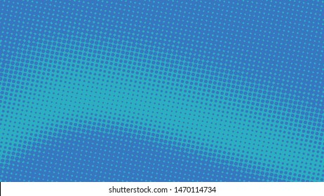 Blue retro pop art background with halftone dots