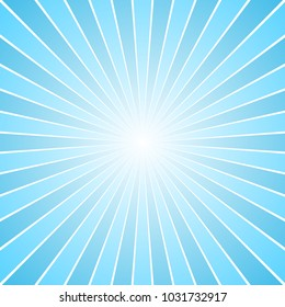 Blue retro ray burst background - gradient vector graphic design with radial stripes
