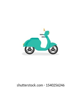 Blue retro scooter or motorbike. Flat vector illustration isolated on white. Delivery, transport symbol. Healthy journey. Ecology. Go green. Hipster.