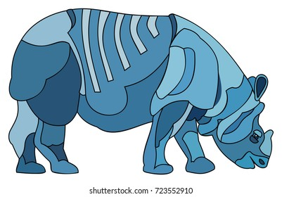 Blue Rhino in a stained glass style