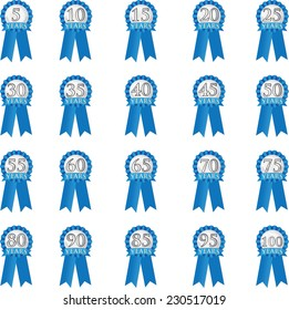 Blue Ribbon for anniversary in 5 year increments