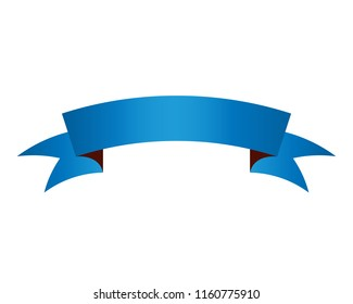 Blue ribbon banner icon 3d symbol or vector illustration, EPS10.