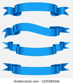 Blue ribbon banners.Blank ribbons for your design.
