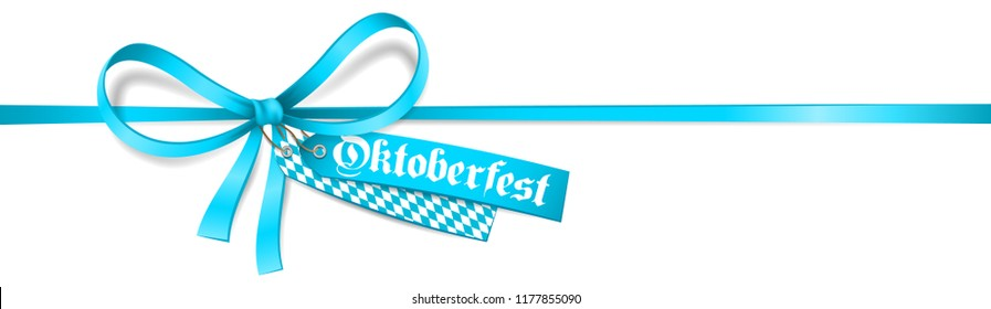 Blue ribbon bow with Oktoberfest label and bavarian flag. Isolated Oktoberfest card.