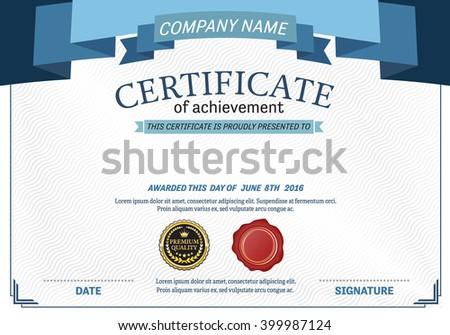 blue ribbon certificate diploma template vector stock vector