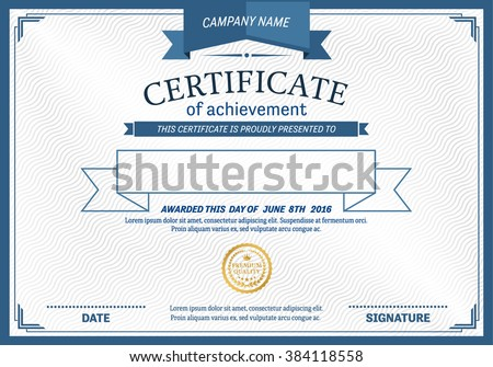 blue ribbon certificate white background template stock vector