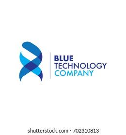 Blue Ribbon DNA Technology Logo Symbol