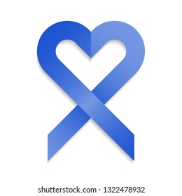 Blue ribbon with heart shape for support and attention call in awareness campaigns isolated on white.