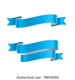 Blue ribbon isolated on white background