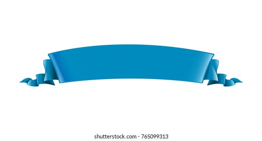Blue ribbon. Long volume curved semicircle arc strip, tape of fabric or paper with curly edges. Decorative design element. Silk elegant retro ribbon with empty space for title writing. Isolated vector
