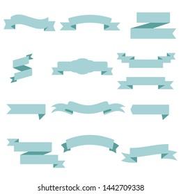 Blue Ribbon Set InIsolated White Background, Vector Illustration