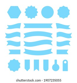 Blue ribbons, badges and labels set. Flat design. Blue shapes. Vector illustration isolated on white background