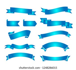 Blue ribbons collection vector illustrations on white background