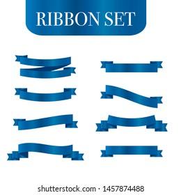 Blue ribbons set. Vector ribbon banners.