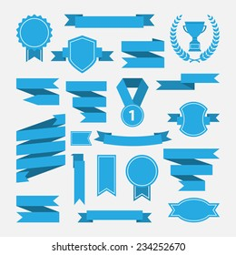 Blue ribbons,medal,award,cup set isolated on white background.Vector.Banner web