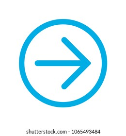 Blue right (next) arrow in blue circle. Icon for buttons on your web site pages. Vector ilustration, EPS10.