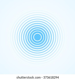 Blue Rings sound wave and line in a circle. Tap symbol. Radio signal background. Vector template illustration abstract speed motion for your design