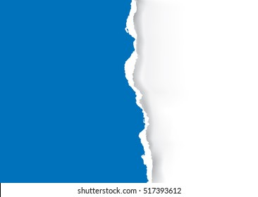 Blue Ripped paper background. Illustration of orange ripped paper with place for your image or text. Vector available.