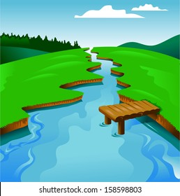 blue river on a background of green landscape, vector and illustration