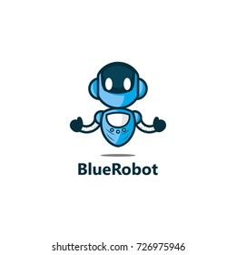 Blue Robot Logo Template Design