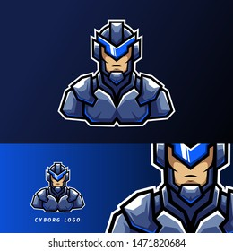 blue robotic cyborg sport esport logo templae design with iron uniform for team, company, personal