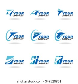 Blue rocket or airplane logo vector set design