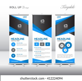 Blue Roll Up Banner template and info graphics, stand design, display advertisement, Business flyer