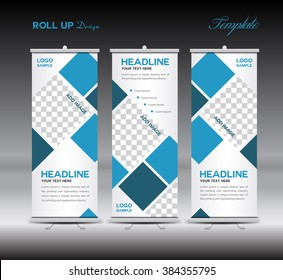 Blue Roll Up Banner template vector illustration, polygon background, stand, display, advertisement, flyer design