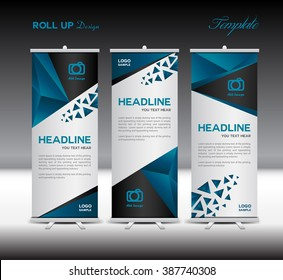 Blue Roll Up Banner template vector illustration ,stand layout, polygon background, flyer, advertisement, display