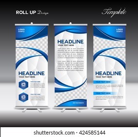 blue Roll Up Banner template vector illustration, advertisement , polygon background, display, flyer design