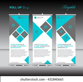 Blue Roll up banner template vector, polygon background , roll up stand, display, banner design, flyer, advertisement