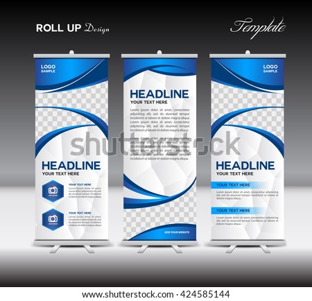 blue roll banner template vector illustration stock vector royalty