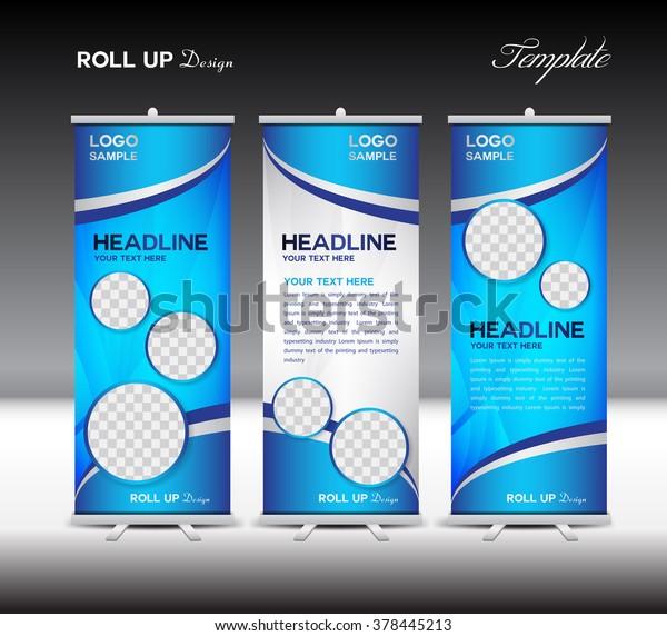 Blue Roll Banner Template Vector Illustration Stock Vector