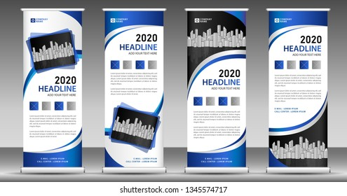 Blue roll up business banner design vertical template vector, pull up, web banner, display, stand layout, advertisement, presentation, abstract background