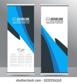 Blue roll up business brochure flyer banner design vertical template vector, cover presentation ,infographics,abstract geometric background, modern publication x-banner and flag-banner,carpet design
