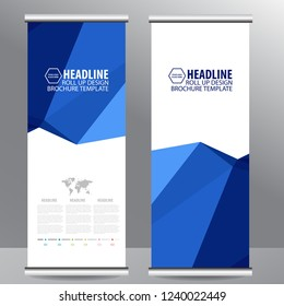 blue roll up business brochure flyer banner design vertical template vector, cover presentation abstract geometric background, modern publication x-banner and flag-banner,carpet design
