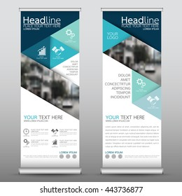 Blue roll up business brochure flyer banner design template vector, leaflet cover presentation abstract geometric background, modern publication x-banner and flag-banner, layout in rectangle size.