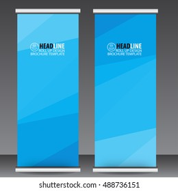 blue roll up business brochure flyer banner design vertical template vector, cover presentation abstract geometric background, modern publication x-banner and flag-banner,carpet design.