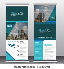 blue roll up business brochure flyer banner design vertical template vector, cover presentation ,infographics ,abstract geometric background, modern publication x-banner and flag-banner,carpet design.
