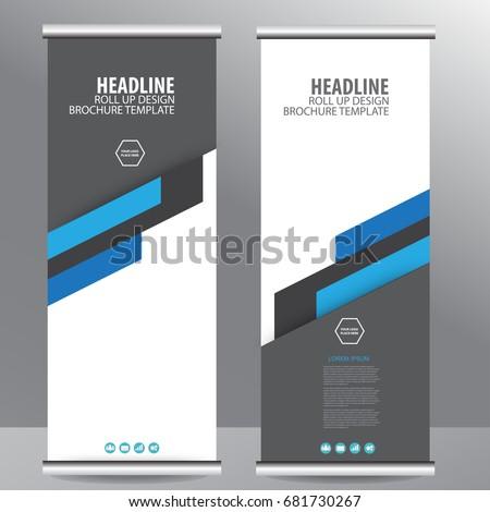 blue roll business brochure flyer banner のベクター画像素材