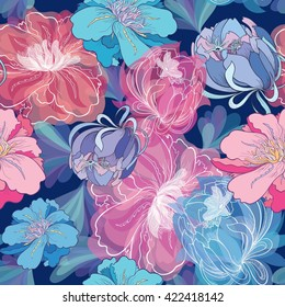 Blue Romantic Vector Floral Pattern | Seamless texture with creative sketch flower illustrations with watercolor effect on dark background