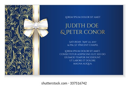 Blue romantic wedding announcement with golden floral ornament