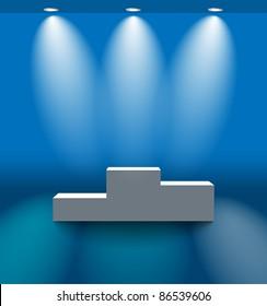 Blue room with pedestal