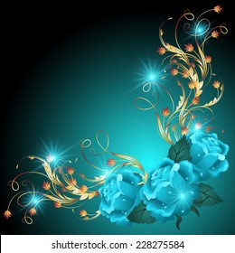 Blue roses with golden ornament and glowing stars