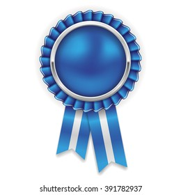 Blue rosette, badge with silver border and ribbon on white background
