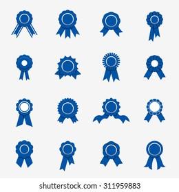 Blue rosette icons. Vector illustration